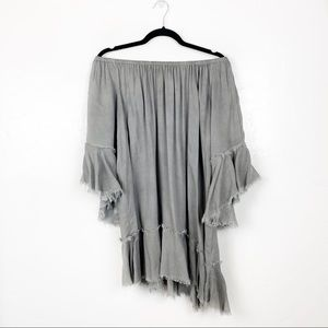 Elan (Nord) | Off Shoulder Asymmetrical Fray Dress